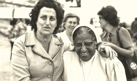 A religiosa durante evento em Lavras na década de 70.